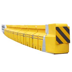 water filled road traffic barrier